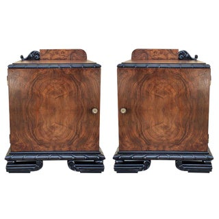 Pair of Art Deco Side Cabinets/Nightstands With Ebonized Base For Sale