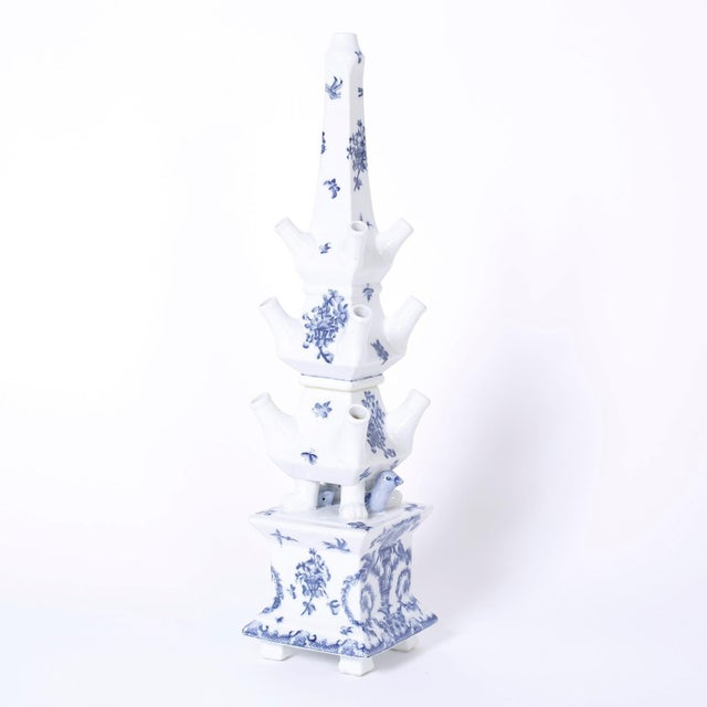 Ceramic Blue and White Porcelain Pagoda Form Tulipieres - A Pair For Sale - Image 7 of 8