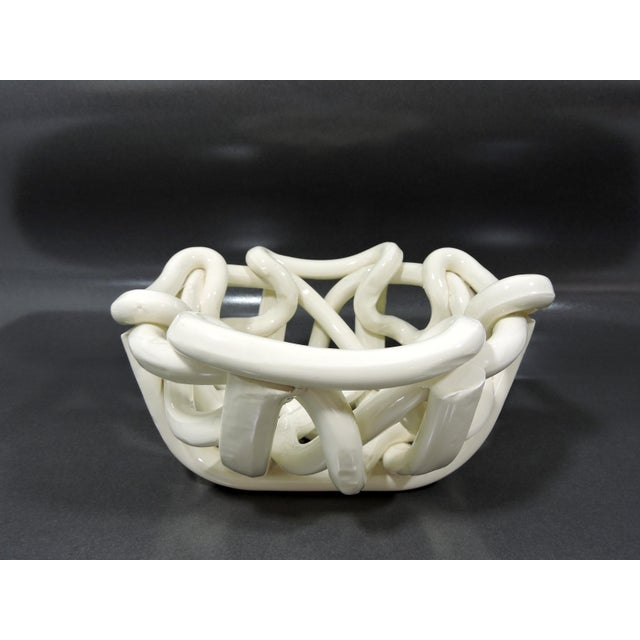 20th Century Boho Chic Hand Crafted Open Weave Ceramic Cream Bowl For Sale In Tampa - Image 6 of 7