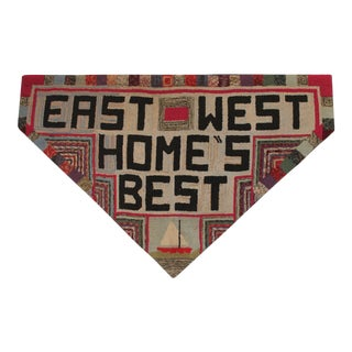"Hand-Hooked Rug on Mounted Frame ""EAST WEST HOME'S BEST"" For Sale"