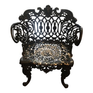 Vintage Cast Iron Garden Chair For Sale