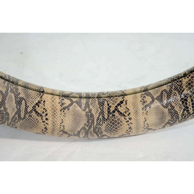 Animal Skin Mid-Century Modern Round Mirror Wrapped in Embossed Leather For Sale - Image 7 of 10