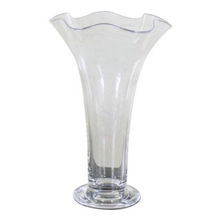 Orrefors Clear Chanterelle Vase by Anne Nilsson Retired 4758-24 For Sale