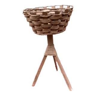 1960's Vintage Oak & Papercord Tripod Plant Stand For Sale