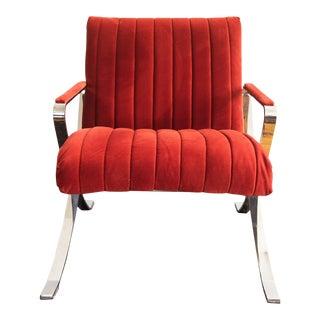 Mid Century Bernhardt Flair Flat Bar Chrome Arm Chair For Sale
