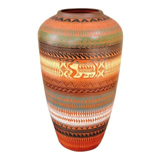 "Large 19"" Tall Hand Etched Navajo Pottery Vase by Ernest Watchman"