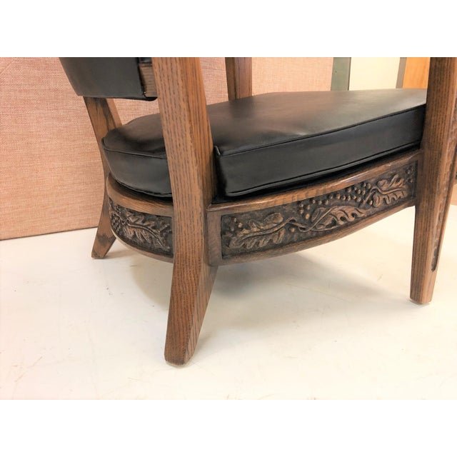 Pair of Romweber Carved Oak Lounge Chairs For Sale In New York - Image 6 of 8