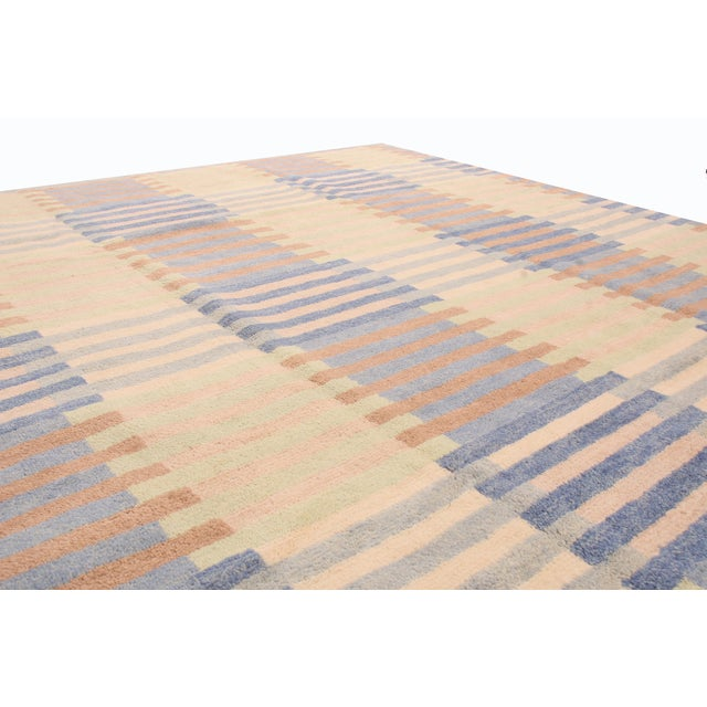 Mid-Century Modern Hand Knotted Scandinavian Design Inspired Geometric Blue and Pink Wool Rug - 8′1″ × 9′11″ For Sale - Image 3 of 6