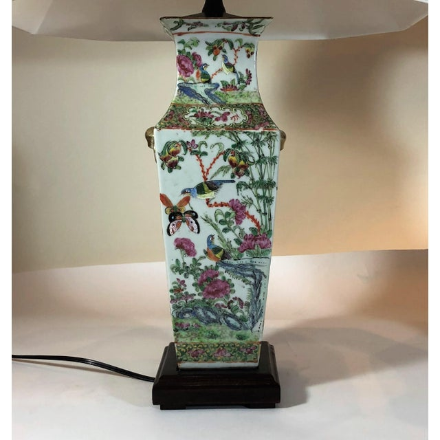 "Asian Pair Antique Rose Medallion ""Canton"" Vases, Made Into Lamps. For Sale - Image 3 of 4"