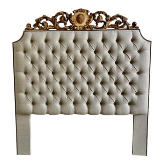 Queen Linen Headboard With 19th Century Carving For Sale