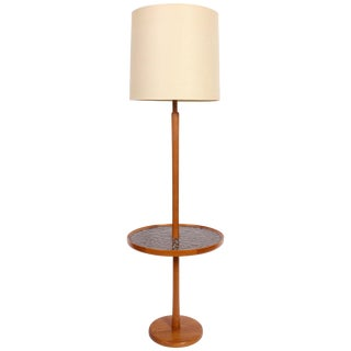 1960s Jane and Gordon Martz Teak & Cocoa Ceramic Coin Tile Side Table Floor Lamp With Shade For Sale