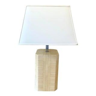 Karl Springer Style Tesselated Bone Lamp For Sale