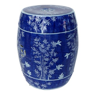 Chinese Blue & White Porcelain Garden Seat W/ Bamboo Motif For Sale