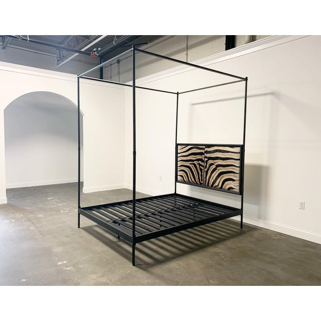 2010s Forsyth Iron Canopy and Zebra Hide Bed For Sale - Image 5 of 6