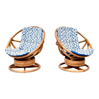 1970s Vintage Saucer Form Swivel Lounge Bamboo Rattan Chairs - a Pair For Sale