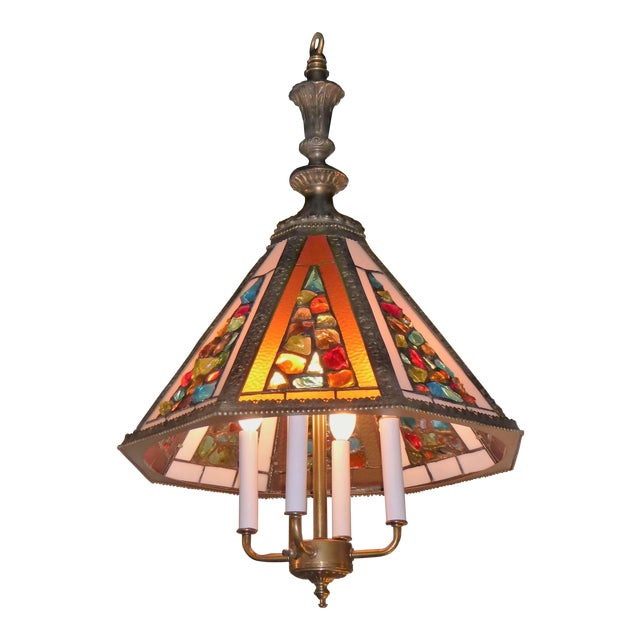 Brutal Stained Glass Modern Hollywood Regency Chandelier 1950s - Image 1 of 10