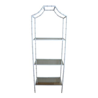 White Faux Bamboo Etagere Shelf For Sale
