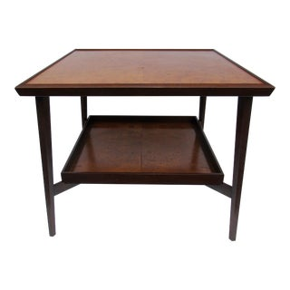 C.1950's Rare Edward Wormley for Dunbar Mahogany & Olive Burl Wood Side/End Table With Brass Sabots For Sale