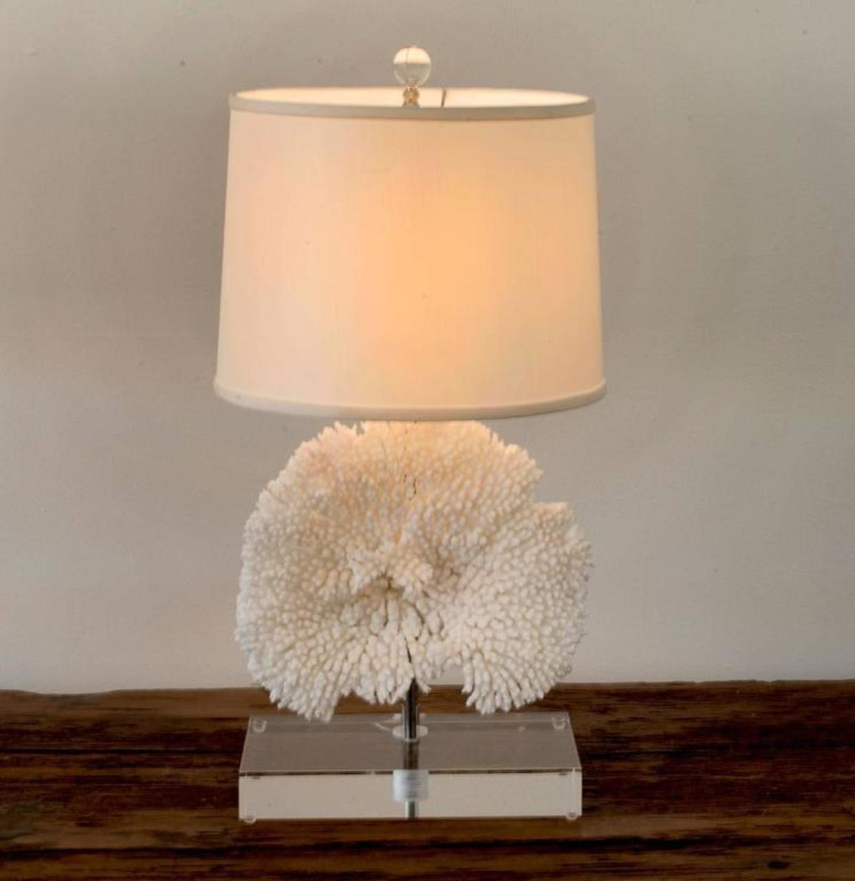 Pair Of Coral Table Lamps On Lucite Base   Image 4 Of 11
