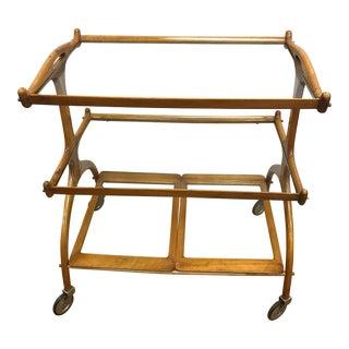 Mid-Century Modern Brazilian Jacaranda Wood Three-Tiered Rolling Bar Cart For Sale