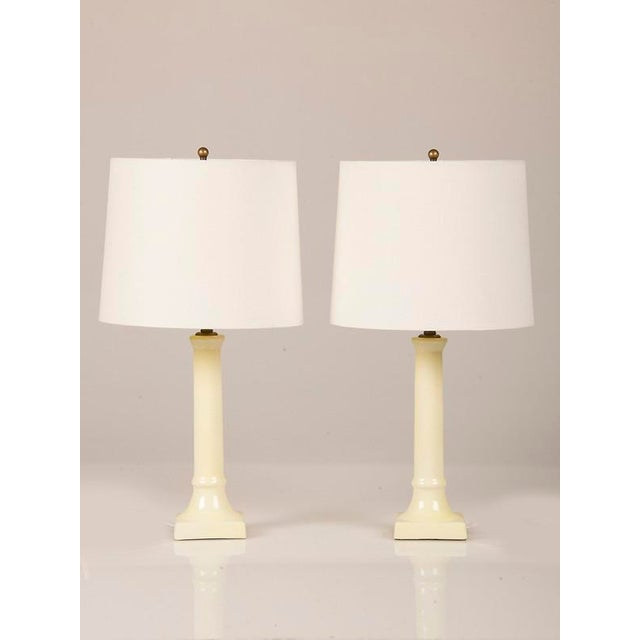 French 1920s French Ceramic Candlesticks Converted to Lamps - a Pair For Sale - Image 3 of 7