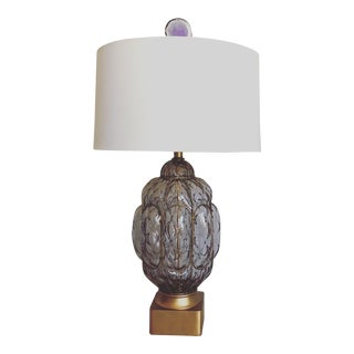 Seguso Murano Glass Lamp & Shade