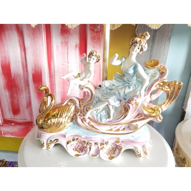Mid 20th Century Vintage Mid 20th Century Italian Lady Cherubs Swans Lamps - a Pair For Sale - Image 5 of 12