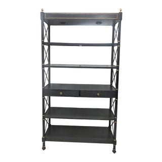 Regency Black & Gold Bookshelf/Etagere For Sale