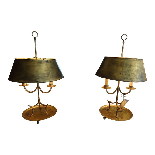 19th Century French Gilded Iron Bouillotte Lamps - a Pair For Sale