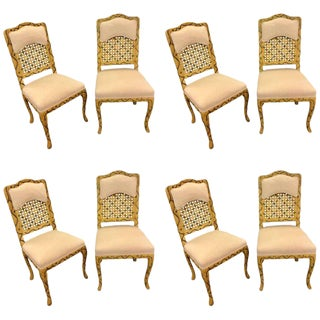 Hollywood Regency Style Tree Trunk Carved Dining Chairs - Set of 8 For Sale