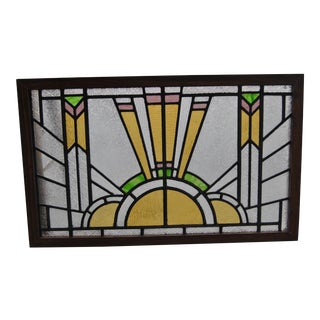 Vintage Art Deco Style English Stained Glass Window For Sale