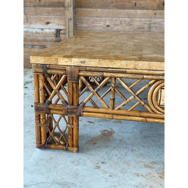 Chinese Chippendale Fretwork Rattan Coffee Table For Sale - Image 9 of 13