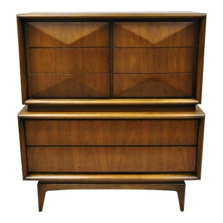 Vintage Mid Century Modern United Diamond Front Walnut Highboy For Sale