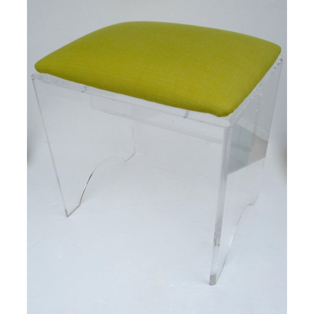 Vintage Mid-Century Lucite Bench With Sunbrella Indoor/Outdoor Textile For Sale In West Palm - Image 6 of 13