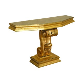 Hollywood Regency Vintage Gold Leaf Console Table For Sale
