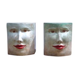 Contemporary Italian Pop Art Blue Green Terracotta Face Stool / Side Table For Sale