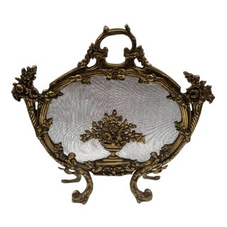 Antique French Rococo Louis XV Style Cast Bronze Flowers Fireplace Fire Screen For Sale