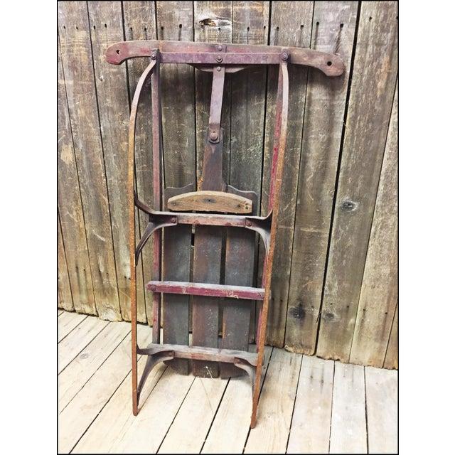 Vintage Weathered Wood & Metal Runner Sled - Image 9 of 11