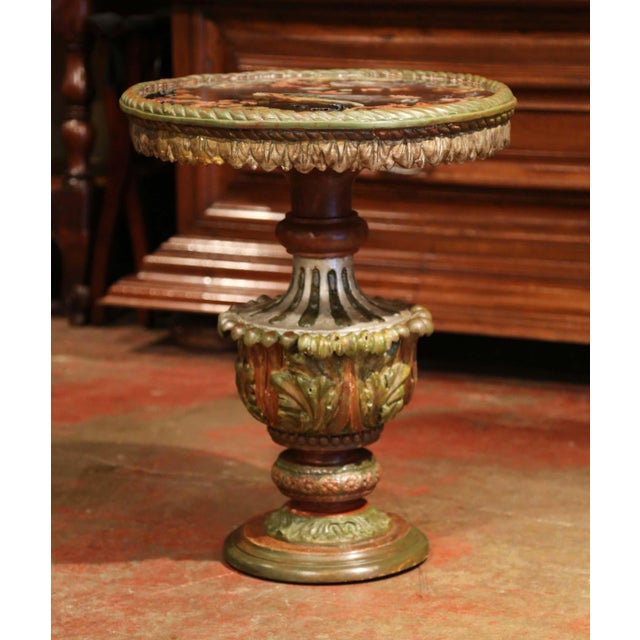 Black 19th Century Italian Carved Giltwood and Painted Side Table With Eglomise Top For Sale - Image 8 of 8