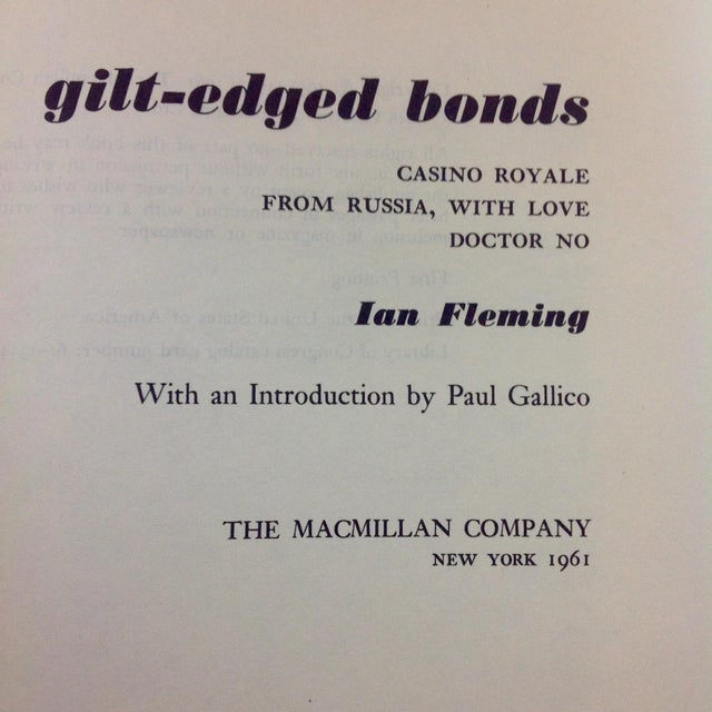 Ian Flemming Gilt Edged Bonds 1st Printing For Sale - Image 4 of 4