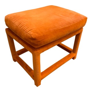 Vintage Orange Pillow Top Stool Attributed to Thayer Coggin For Sale