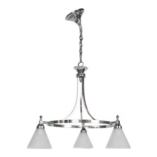Restored Art Deco Three Light Chrome Chandelier For Sale