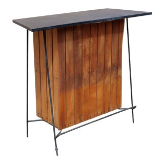 Arthur Umanoff Mid-Century Bar Vintage MCM Mid Century Modern Wood and Iron Dry Bar Standing Bar For Sale