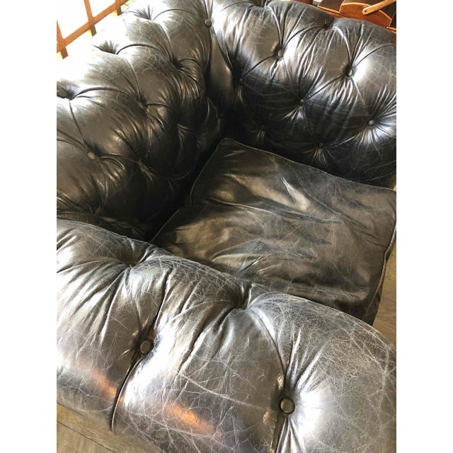 Chesterfield Oversized Tufted Armchair in Original Black Leather For Sale - Image 4 of 5