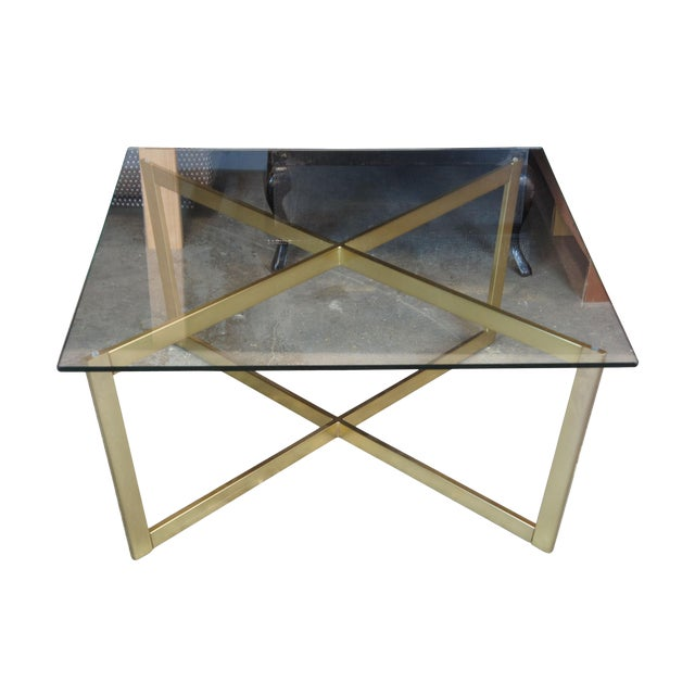Contemporary West Elm Cross-Base Square Coffee Table For Sale