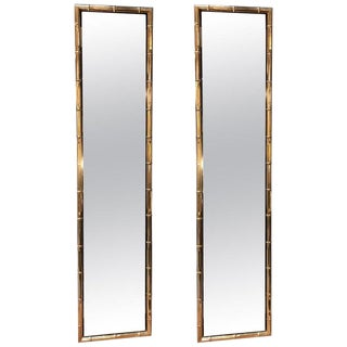 Large Pair of Rectangular Faux Bamboo Brass Mirrors, Italy, 1960s For Sale
