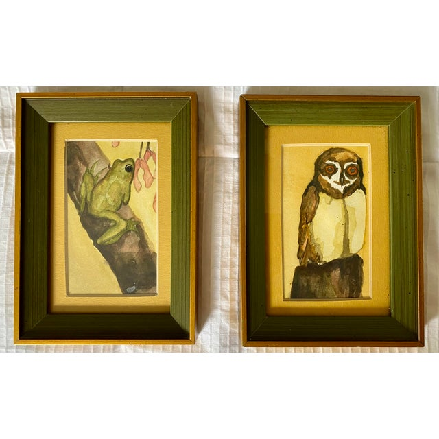1970s 1970s Frog and Owl Watercolor Paintings, Framed - a Pair For Sale - Image 5 of 5