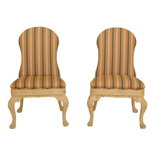 Pair Chippendale Style Upholstered Occasional Side Chairs For Sale