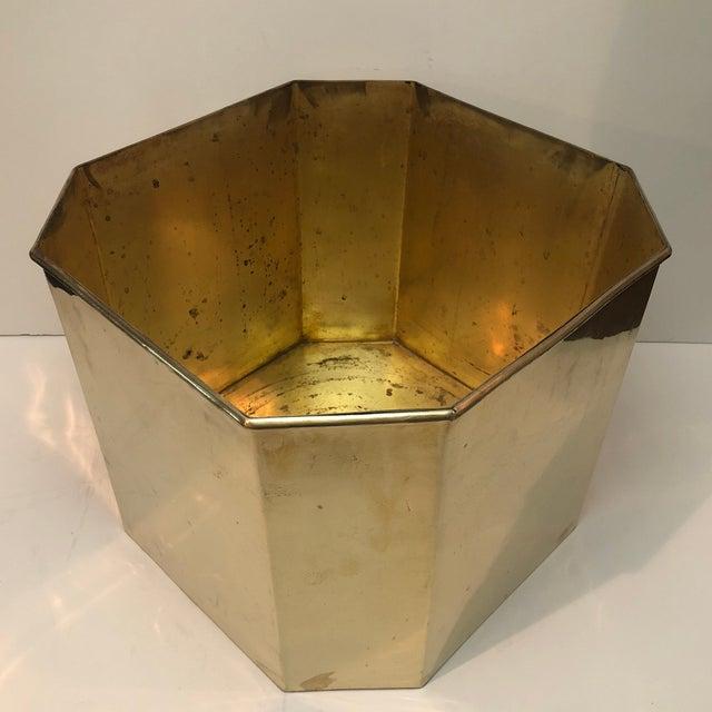 Metal Jumbo Vintage Octagonal Brass Floor Planter For Sale - Image 7 of 8
