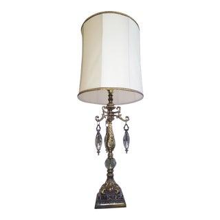 Large Vintage Hollywood Regency Crystals and Gilded Stem Table Lamp For Sale